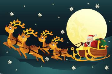 Renne Babbo Natale.Babbo Natale Slitta Renne Luna Fiocchi Di Neve 217111 Ticinolive
