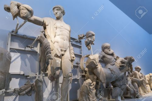 West pediment of the temple of Zeus at Olympia: Thessaly Centauromachy, 472-456 BC Olympia Archaeological Museum.